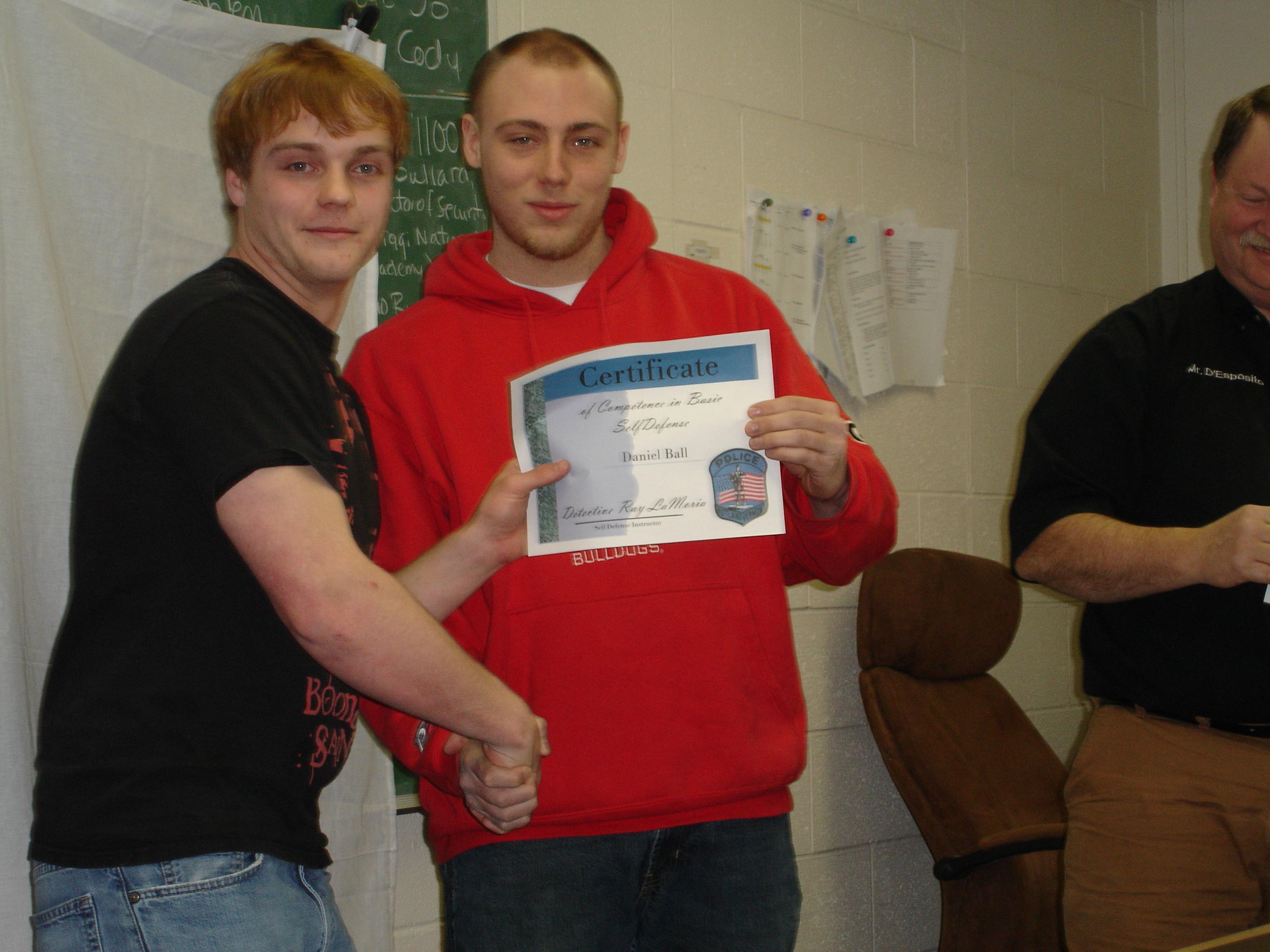 Cantlin Eaton receiving Haz-Mat Certificate